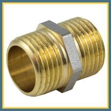 """Ниппель латунно-никелевый н/р 1/2"""" 200 мм VALTEC удлиненный"""
